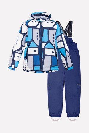 Комплект(Осень-Зима)+boys (графичные домики, голубой, фиолетово-синий)