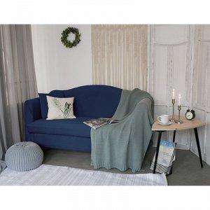Чехол для мягкой мебели ,2-х местный диван,наволочка 40*40 см в ПОДАРОК,тёмн.синий 24809