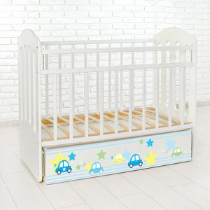 Детская кроватка «Машинки» на маятнике, с ящиком, цвет белый