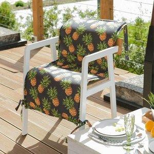 Подушка на уличное кресло Ананасы, 50?100+2 см, репс с пропиткой ВМГО, 100% хлопок