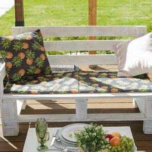Подушка на трехместную скамейку Ананасы, 45?150 см, репс с пропиткой ВМГО, 100% хлопок