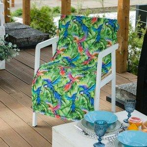 Подушка на уличное кресло Попугай, 50?100+2 см, репс с пропиткой ВМГО, 100% хлопок
