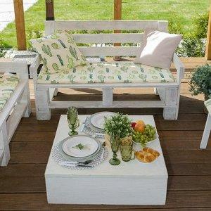 Подушка на 2-местную скамейку : Кактусы, 45 ? 120 см, репс с пропиткой ВМГО, 100%-ный хлопок