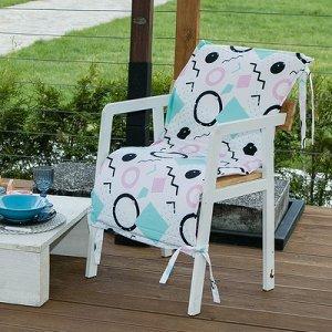 Подушка на уличное кресло Квадраты, 50?100+2 см, репс с пропиткой ВМГО, 100% хлопок