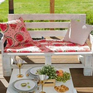 Подушка на 2-местную скамейку  «Арбузы», 45 ? 120 см, репс с пропиткой ВМГО, 100%-ный хлопок