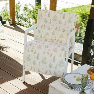 Подушка на уличное кресло Листья 50?100+2 см, репс с пропиткой ВМГО, 100% хлопок