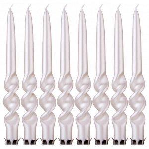 Набор свечей из 8 шт. 23,5/2,2 см. металлик перламутровый (кор=3набор.)