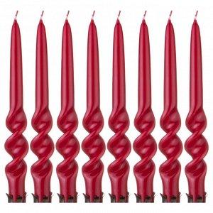 Набор свечей из 8 шт. 23,5/2,2 см. лакированный бордовый (кор=3набор.)