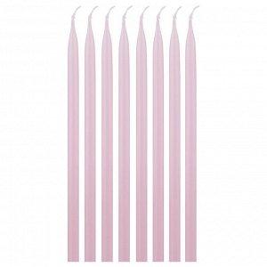 Набор свечей из 8 шт. 23/1 см. лакированный розовый (кор=3набор.)