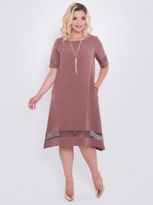 Платья Элегантное нарядное платье А-силуэта из костюмной ткани, с отделкой из кружева. - круглый вырез горловины на обтачке - втачные рукава со вставкой из кружева - по переду и спинке кокетка - перед