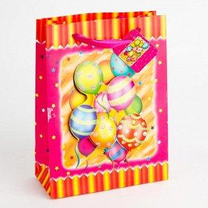 """Пакет подарочный 30х42х12см с аппликацией """"День рождения"""" (4вида) ПАК1-020 min=12штук"""