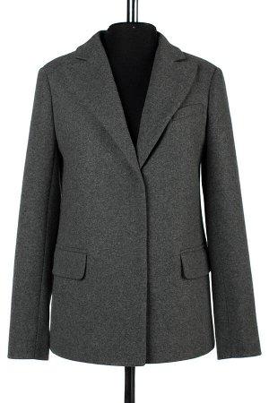 01-08566 Пальто женское демисезонное трикотаж темно-серый