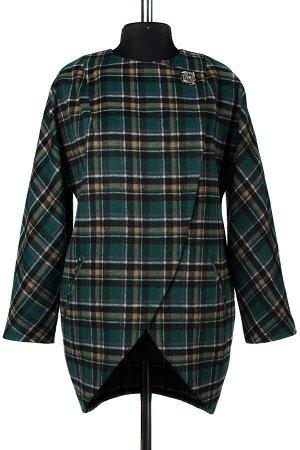 01-8561 Пальто женское демисезонное Микроворса/Клетка Изумруд