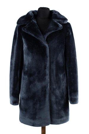 01-08485 Пальто женское демисезонное (пояс) Искусственный мех индиго