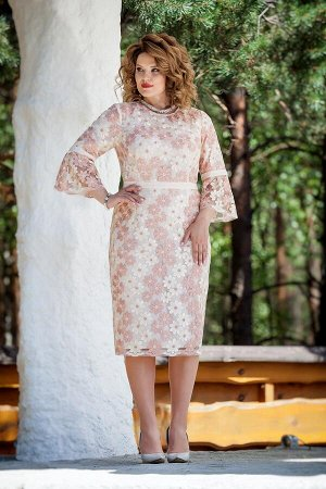 Платье Платье TEZA 208  Состав ткани: Вискоза-20%; ПЭ-80%;  Рост: 164 см.  Элегантное женственное платье приталенного силуэта с втачным рукавом из кружева. Рукав прямой, по низу рукава широкий волан.