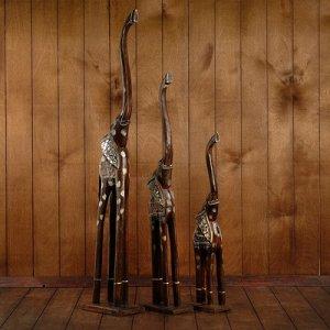 """Интерьерный набор """"Слоны"""" 60,80,100 см дерево"""
