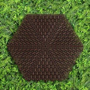 Набор модульной плитки для покрытия 41*37*1,5 см, шестигранник, пластик , шоколад