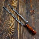 Двойной вилка-шампур с деревянной ручкой, 40 см