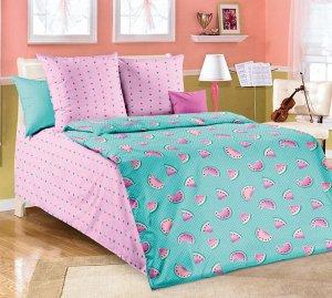 """Комплект постельного белья 1,5-спальный, бязь """"Люкс"""", детская расцветка (Арбузики)"""