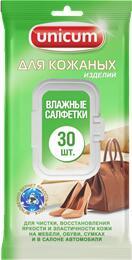 UNICUM Влажные салфетки для чистки изделий из кожи