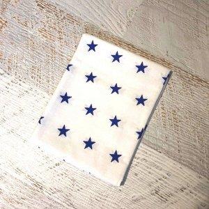 Наволочка 50х70 Белая, синие звезды ср.