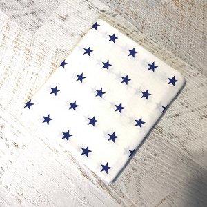 Простынь полуторная Белая, синие звезды