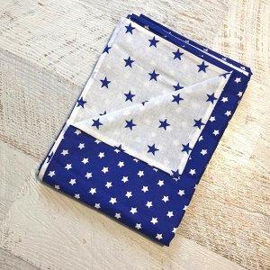 Пододеяльник полуторный комбинированный Т.синий, Звезда мал/Белый, синие звезды