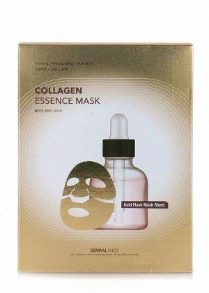 Dermal shop Collagen Фольгированная ткан. маска с Коллагеном, Аденозином и пептид. комплексом (золотая) 30г
