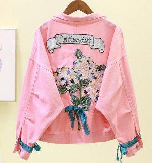 Джинсовая куртка розовая