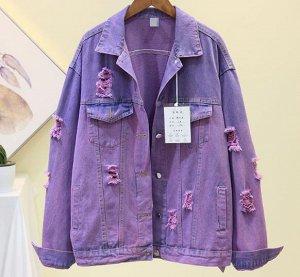 Джинсовая куртка фиолетовая