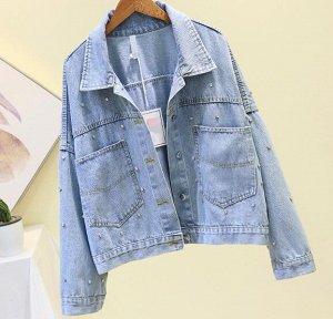 Джинсовая куртка голубая
