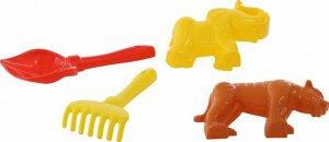 Набор №563: лопатка №5, грабельки №5, формочки (тигр + мамонт)