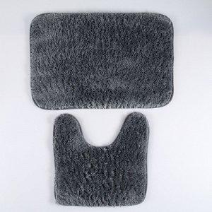 "Набор ковриков для ванны и туалета 2 шт ""Пушистик"" 40х60, 40х38 см, цвет серый"