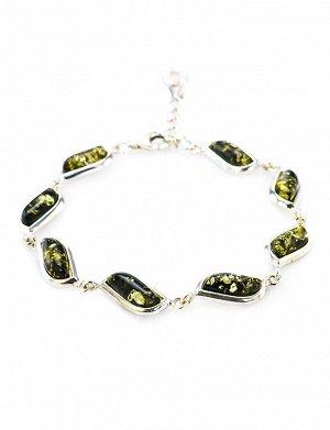 Изысканный браслет из серебра и натурального янтаря зелёного цвета «Тильда», 607706134
