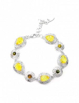 Ажурный браслет «Луксор» из серебра со вставками из лимонного и зелёного янтаря, 607710248