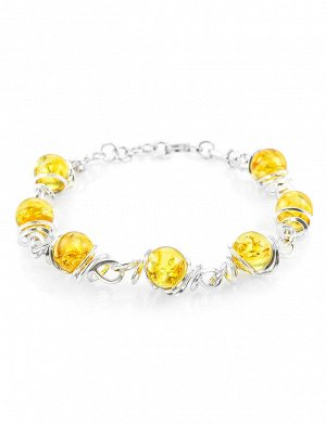Изысканный браслет из серебра и натурального лимонного янтаря «Валенсия», 607711208