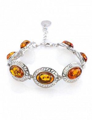 Серебряный браслет «Эллада» со вставками из натурального балтийского янтаря коньячного цвета, 607710270