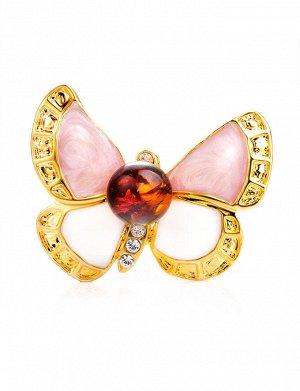 Небольшая нежная брошь в виде бабочки, с эмалью и янтарём Beoluna, 907904139