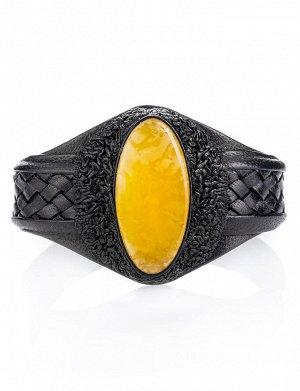 Браслет из чёрной натуральной кожи с овальной вставкой из медового янтаря, 905004117