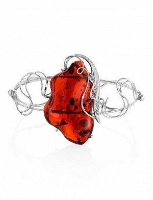 Роскошный крупный браслет с натуральным янтарем насыщенного коньячного цвета «Крылышко», 907706175