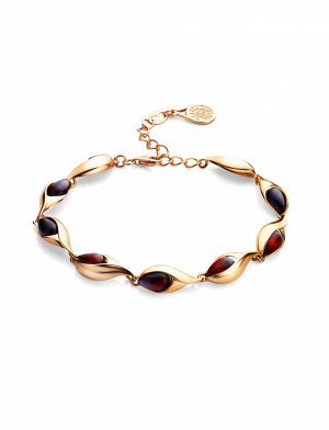Женственный браслет из золоченного серебра и янтаря вишнёвого цвета «Пион», 812604158