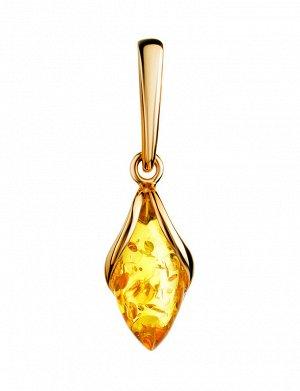 Красивый женственный кулон из золота и натурального лимонного янтаря «Подснежник», 907202367
