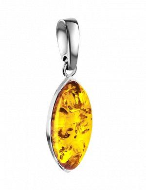 Лаконичный серебряный кулон, украшенный вставкой золотистого янтаря «Амарант», 901706011