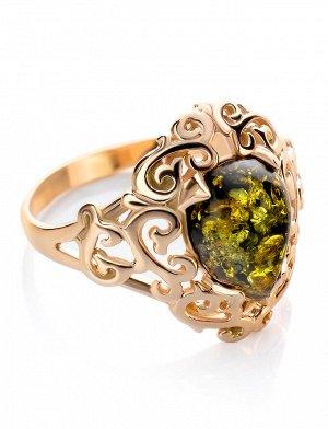 Роскошное кольцо из серебра с золочением и зелёного янтаря «Луксор», 810004135