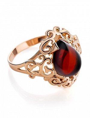 Эффектное позолоченное кольцо с вишнёвым янтарём «Луксор», 810004143