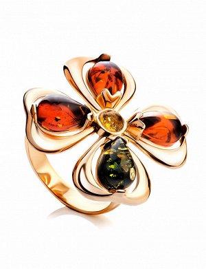 Яркое нарядное кольцо «Клевер» из золоченного серебра и янтаря, 810004194