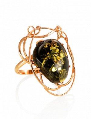 Кольцо из серебра с позолотой и янтаря тёмно-зелёного цвета «Риальто», 910006114