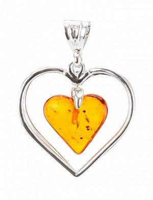 Воздушная подвеска-сердце из серебра с кусочком цельного янтаря вишнёвого цвета, 605401156