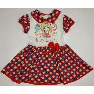 Платье 7028/43 (мелкая клетка, красно-синяя, рисунок)