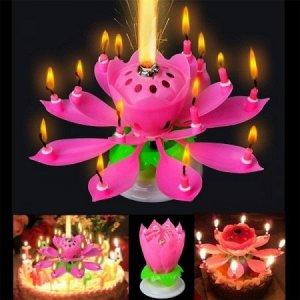 Свеча-цветок для торта музыкальная